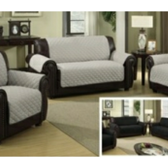 Reversible quilted waterproof sofa slipcover